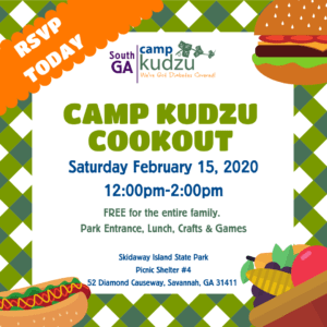 Flyer for the Camp Kudzu Cookout on February 15, 2020